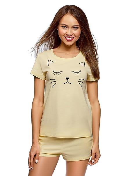oodji Ultra Mujer Pijama de Algodón con Estampado, Amarillo, ES 36 / XS