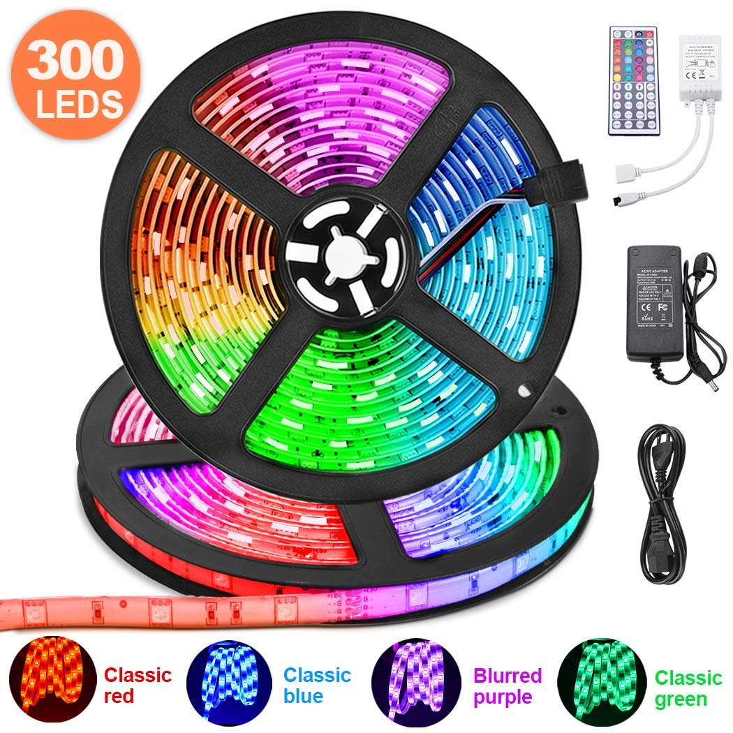 LED Strip Lights 32.8ft for bedroom, KDORRKU 10m RGB Waterproof Flexible Self-Adhesive LED Light Strips for Room Color Changing Neon Mood Lights 300LED 5050 Tape Light Remote 12V for Indoor Decoration