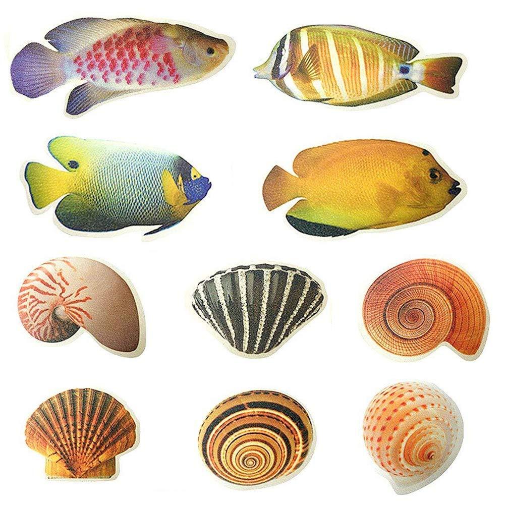 Dotters Non-slip Bathtub Sticker, 10PCS Sea Creature Shower Decal Treads Seashell Fish Adhesive Bath Safety Anti-Slip Applique for Bathtub Shower Surfaces