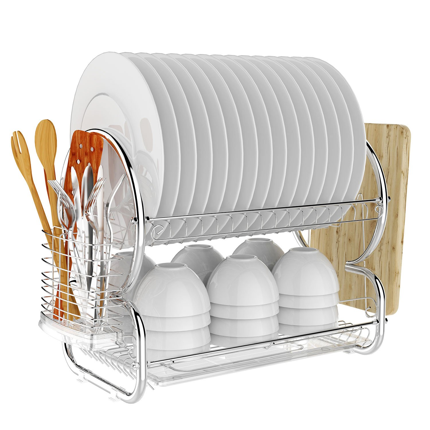 Amazon com bathwa 2 tier stainless steel dish rack drainer board set dish drying rack 17l x 10w x 15h inches kitchen dining