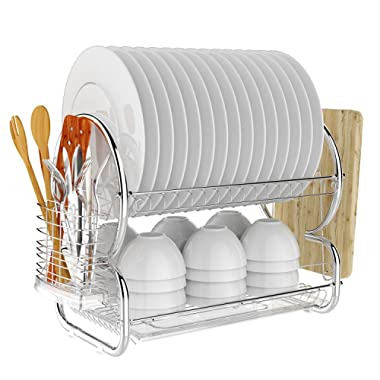 BATHWA 2-Tier Stainless Steel Dish Rack Drainer Board Set Dish Drying Rack 17L x 10W x 15H Inches