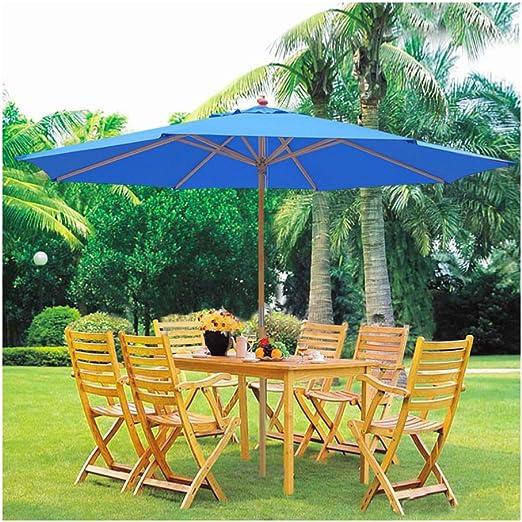Desconocido Paraguas de madera para patio, color azul, con barra de madera alemana, para exteriores, playa, cafetería, jardín, sombrilla: Amazon.es: Jardín