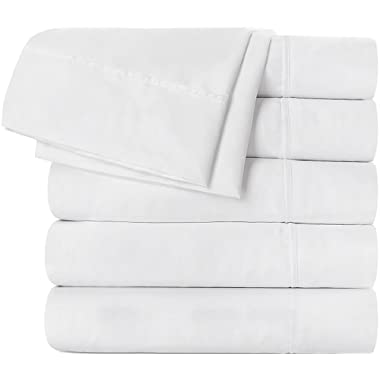 Utopia Bedding Flat Sheet 6 Pack (Queen, White) Brushed Microfiber - Soft, Breathable, Iron Easy, Wrinkle, Fade Stain Resistant - Hotel Quality