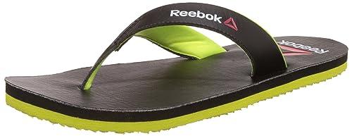 e9712e06932d7e Reebok Men s Advent Black and Neon Yellow Flip Flops and House ...