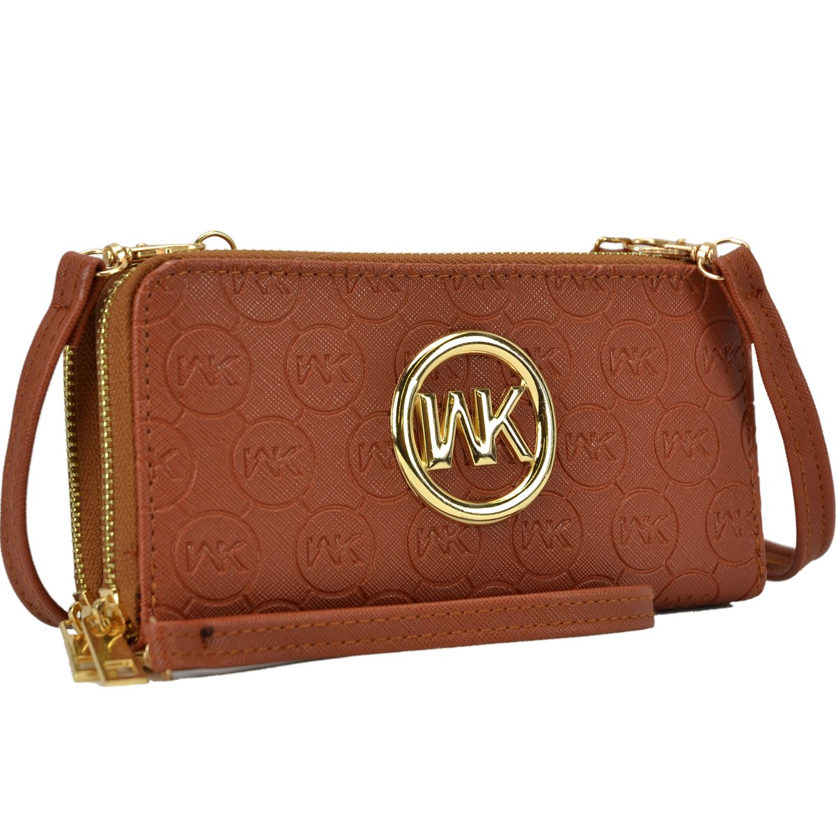 MMK Classic Card Case Double layer Zip Around Wallet for Women~Fashion Women Wallet With Wristlet Strap 1062-BR