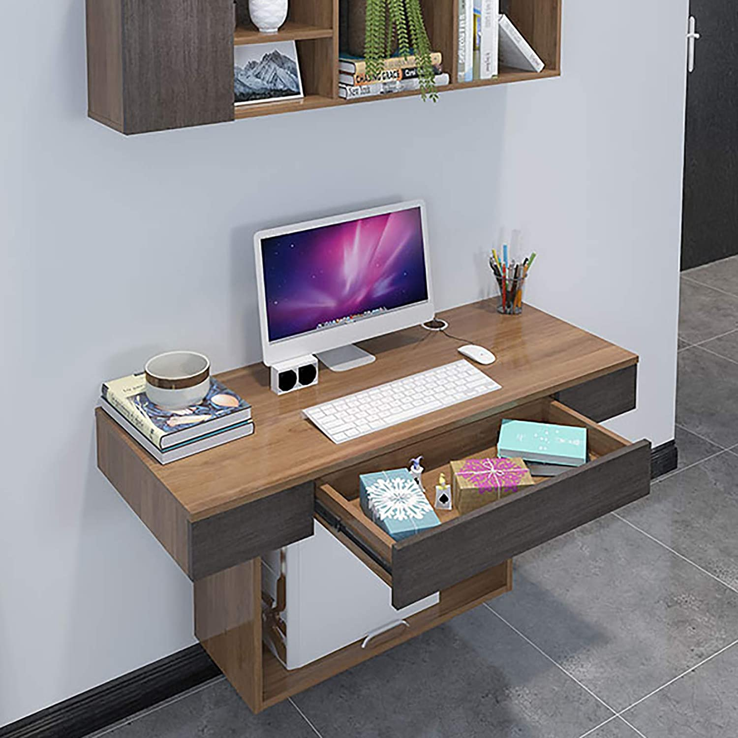 XM&LZ Modern Solid Wood Wall Mounted Desk,Home Floating Computer Desk with Drawers Shelves,Multi-Function Writing Gaming Desk Bedroom Office-Walnut 47x19x24inch