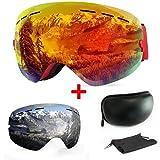 WLZP Maschera da Sci OTG,Sferica Senza Cornice con Doppie Lenti intercambiali,Occhiali da Snowboard Anti-UV UV400 Anti-Nebbia Anti-Vento Protezione Occhiali Sci per Uomini e Donne