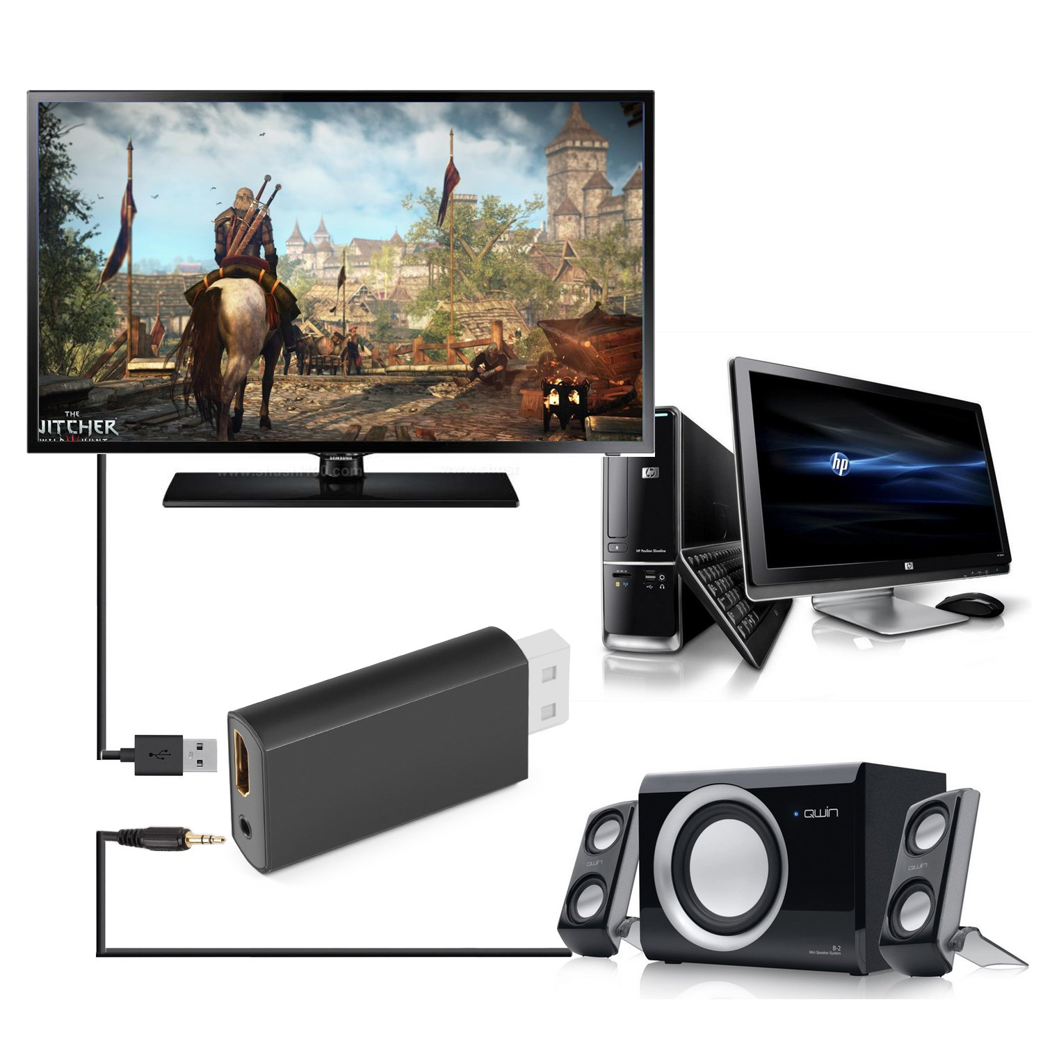 DONGJIAN Wii to HDMI Converter 720P / 1080P HD Output Video Audio Adapter- Supports All Wii Display Modes