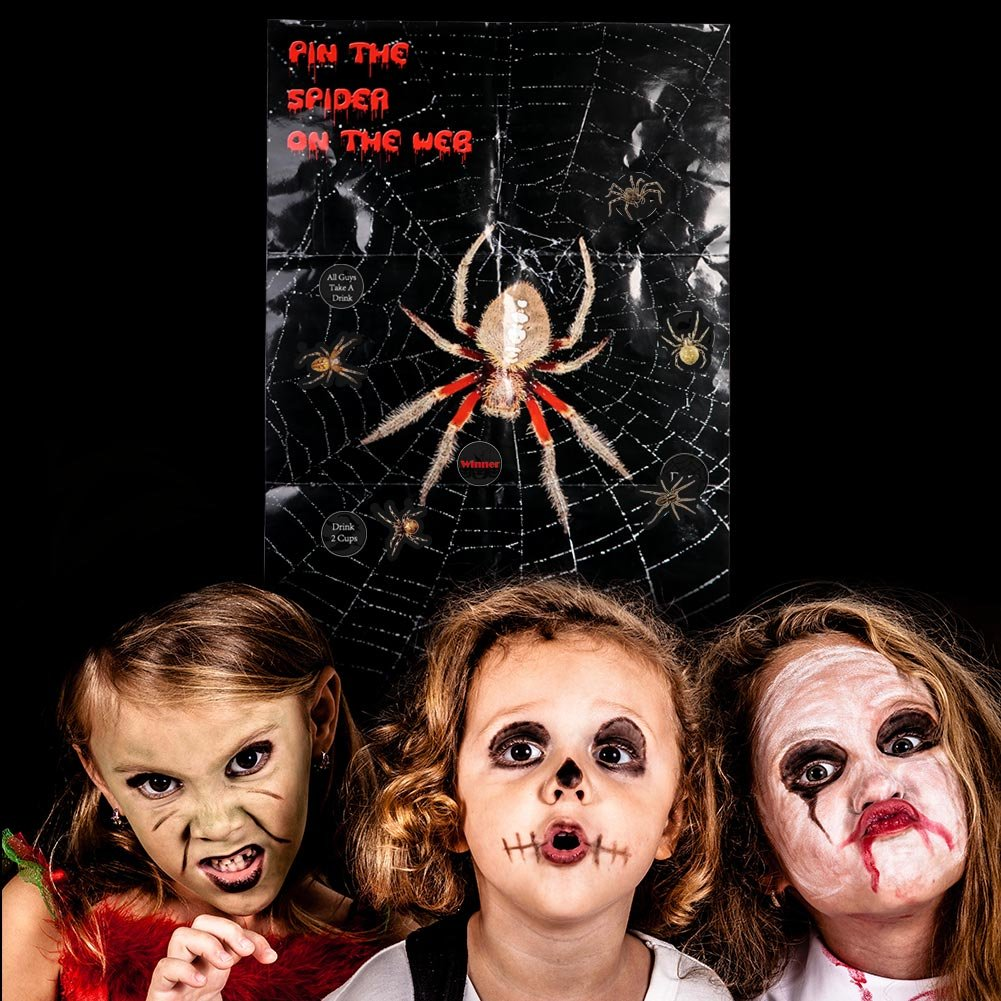 AerWo Halloween Party Games Decorations 31.5 H/× 19.7 W Perfect Games Supplies Halloween 31.5 H/× 19.7 W Perfect Games Supplies Halloween 21th Birthday Party Drink Party Pin The Spider On The Web Game