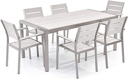 Beliani - Table de Jardin et 6 Chaises - Verino - Plateau 90 ...