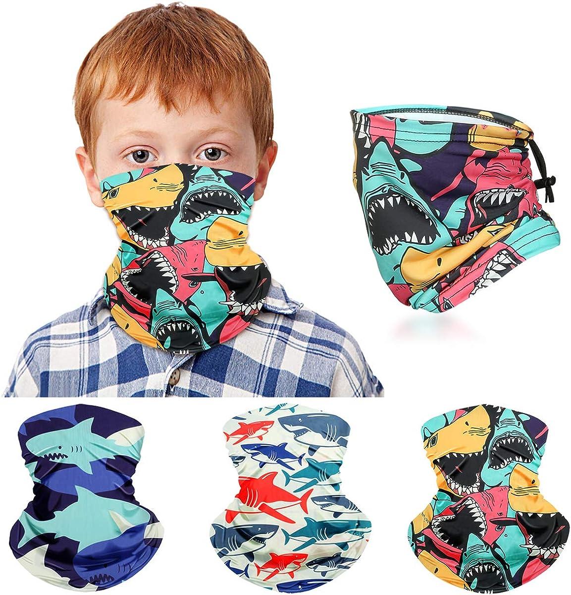 Kids Neck Gaiter Face Maskfor Boys Girls Face Cover Scarf Bandana Balaclava Adjustable Reusable Washable 3 Pack