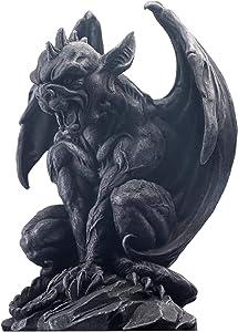 JORAE Winged Gargoyle Statue Outdoor Decor Sitting Guardian Sculpture Halloween Figurines, 9 Inch, Polyresin