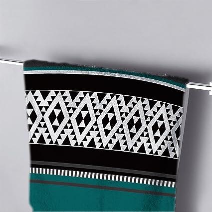 Toalla de baño, azul Negro y Blanco Geométrico Imprimir moderno toalla de mano baño toallas