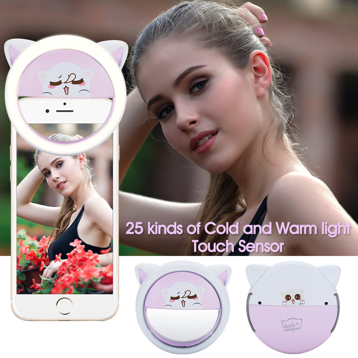 Selfie Light,Bienna Selfie Ring Light Flash Fill [44 LED][USB Rechargeable][5-Level Brightness & Color Temp] Camera Lighting With Power Bank and Stand for iPhone iPad Android Sumsung HTC Huawei-Purple