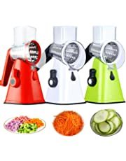 Vegetable Chopper Manual Multifunction Food Slicer Kitchen Cutter 3 in 1 Rotary Drum Grater Easy Use Save for Time for All Vegetable Fruits Design Made from Stainless Steel not Rust and Safe