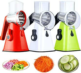 Vegetable Chopper Manual Multifunction Food Slicer Kitchen Cutter 3 in 1 Rotary Drum Grater Easy Use Save for Time for All Vegetable Fruits Design Made from Stainless Steel not Rust and Safe White