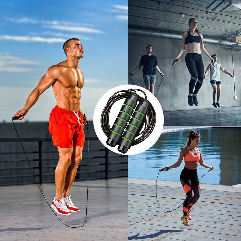 Boxe Skipping Rope R/églable Vert ACERD Corde /à Sauter 3.0M Speed Rope avec 170g Amovible Professionnelle Pond/ér/ée Crossfit Gym- Noir Corde /à Sauter pour Enfants//Adulte Jump Rope pour Fitness