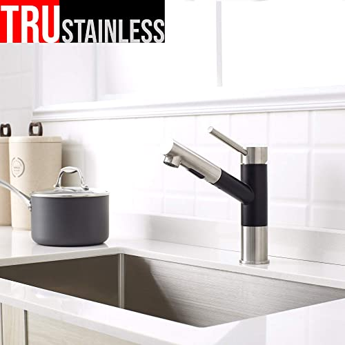 TRUSTAINLESS Premium 100 Stainless Steel Pull Out Kitchen Faucet Single Handle Dual Function Sprayer Brushed Steel Matte Black Finish