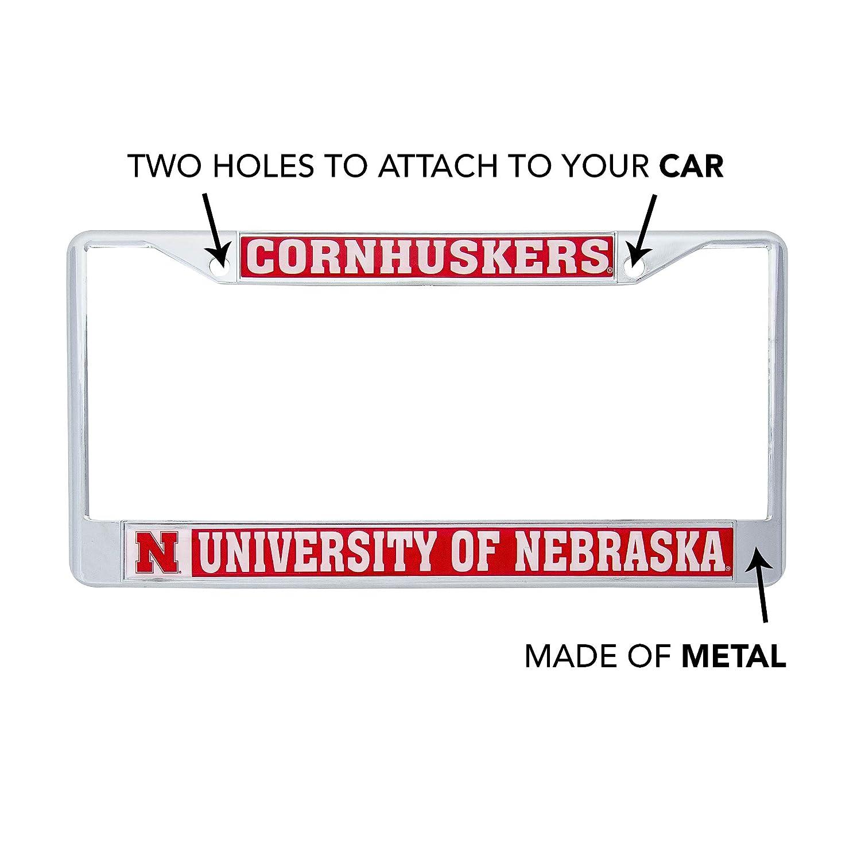 Desert Cactus University of Nebraska Cornhuskers Metal License Plate Frame for Front Back of Car Officially Licensed Mascot