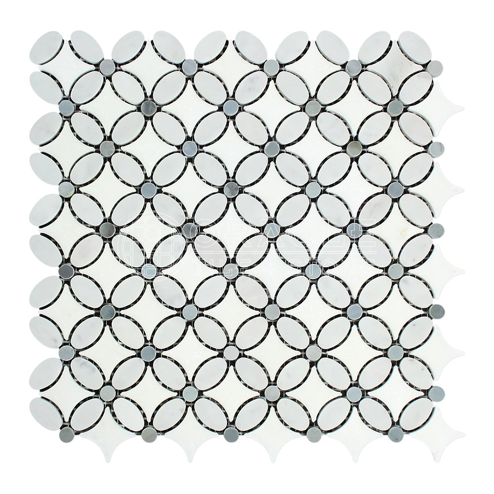 Carrara White Italian (Bianco Carrara) Marble Florida Flower Mosaic Tile with Blue & Gray Marble Dots, Honed