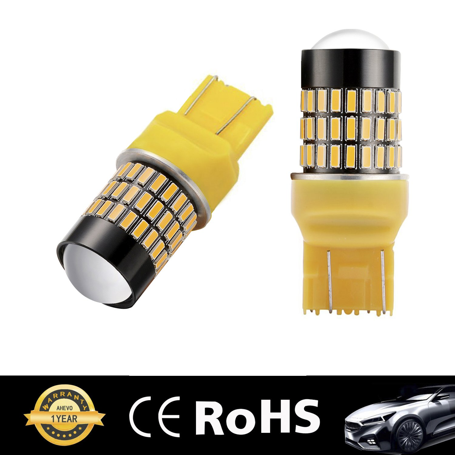 AHEVO 2 x Super Bright Low Power 9-30V 3156 3157 3057 4157 LED Bulbs with Projector Replacement for Turn Signal Lights,3157 Amber Yellow