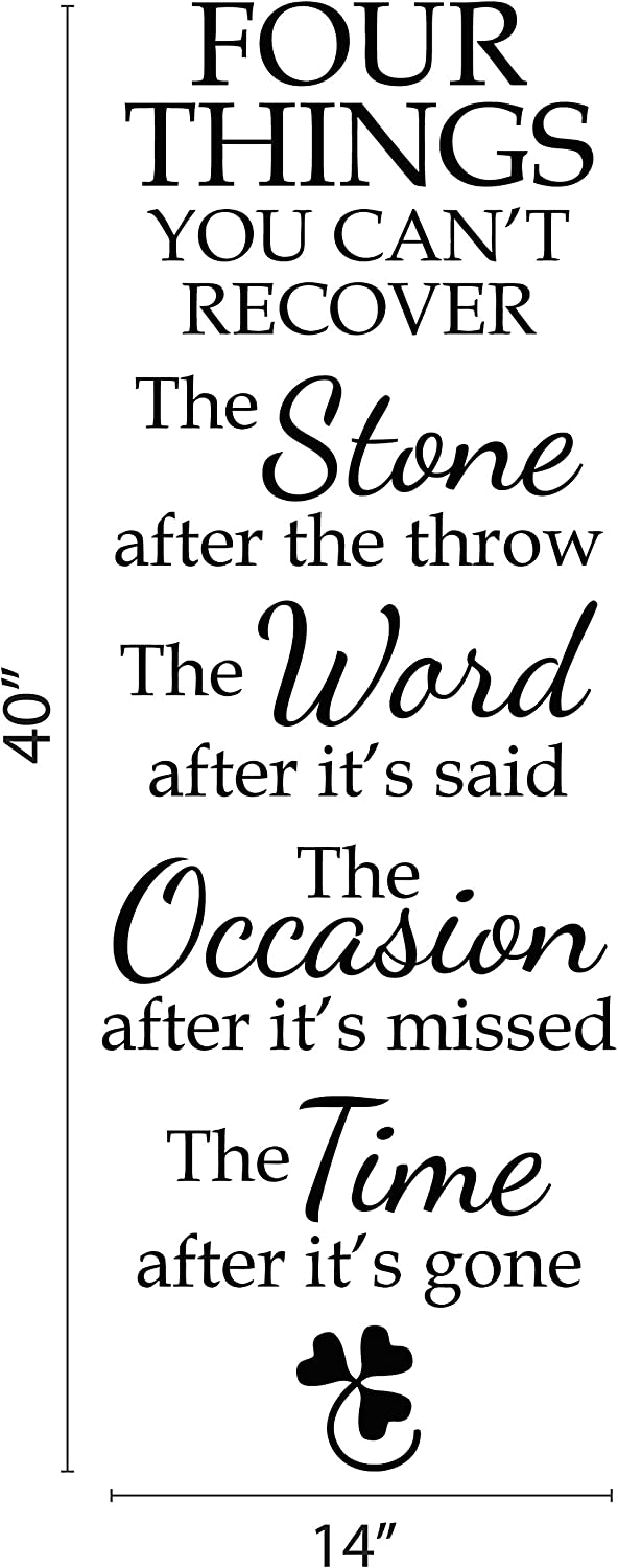 NikDecals Wall Decal. Four Things You Can't Recover. The Stone After The Throw. The Word After It's Said. Quote Removable Vinyl Sticker. Custom Color.14x40''