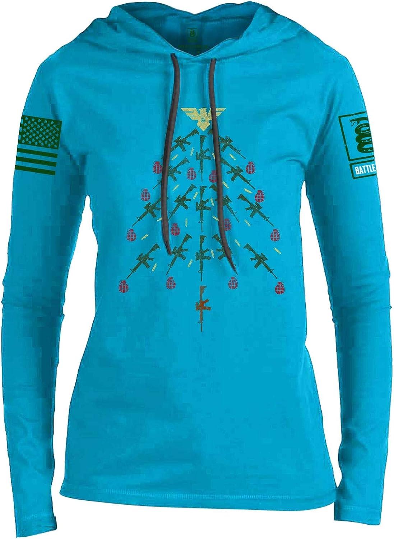 Battleraddle Christmas Rifle Tree Green Sleeve Print Womens Thin Cotton Lightweight Hoodie