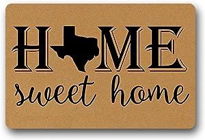 Doormat Indoor Pattern Print Funny Outdoor Floor Door Mat Sweet Home Texas- Funny Doormat Indoor Outdoor Non-Woven Rubber Non Slip Backing Entry Way Doormat for Patio Front Door