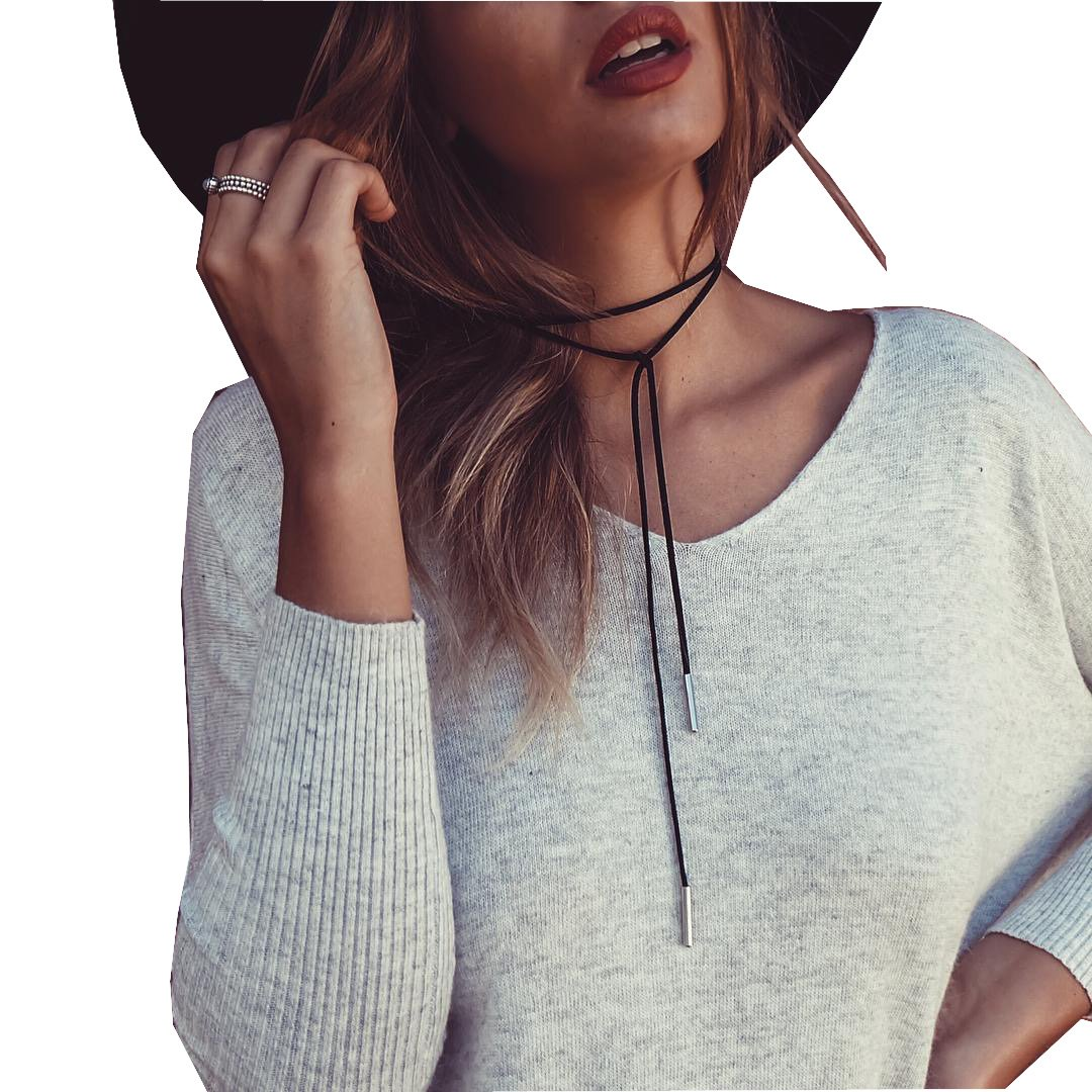 New Fancymix Womens Black Lariat Suede Girl Style Chain Necklace Wrap Choker