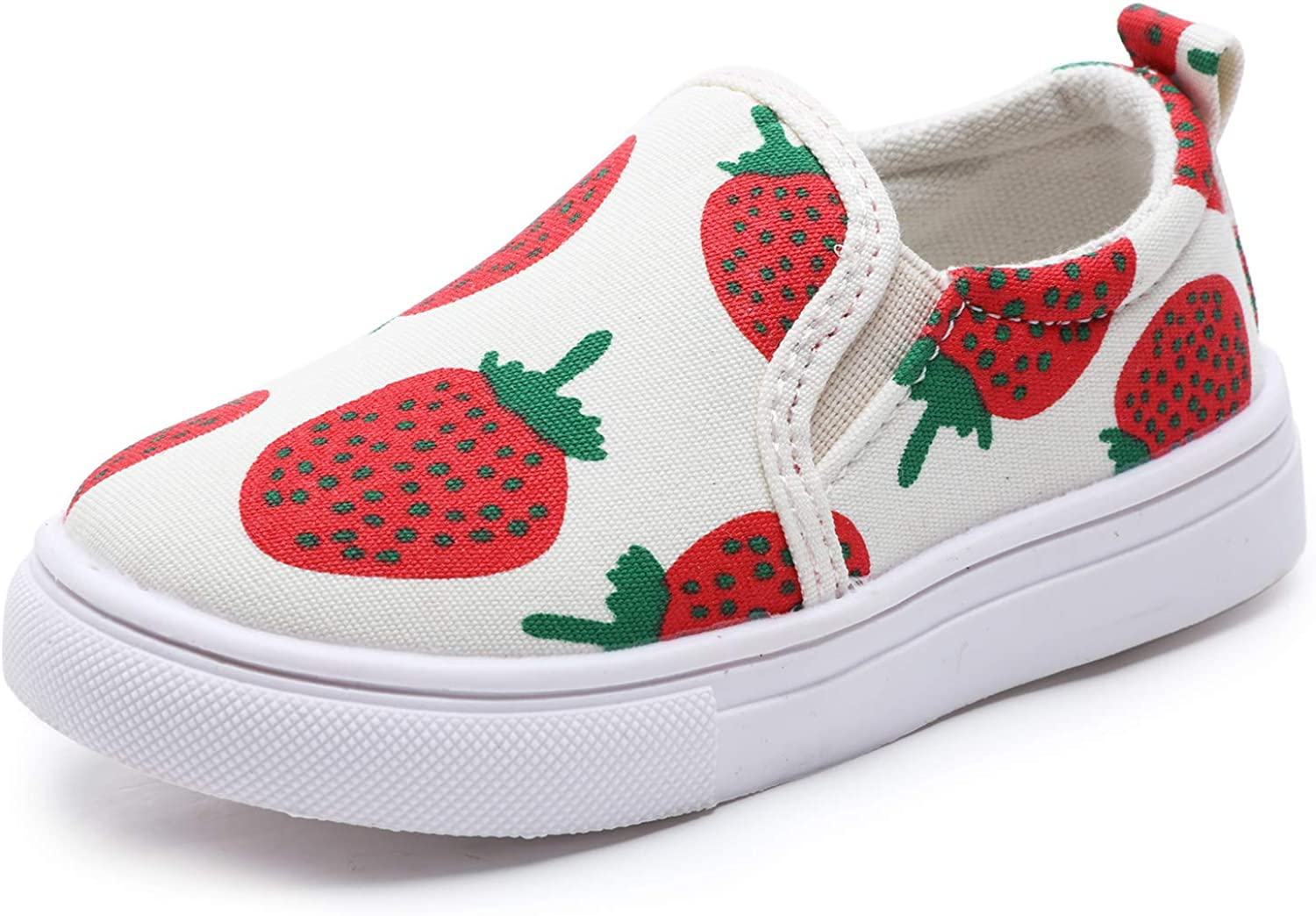 Minibella Toddler Strawberry Print Canvas Sneakers Baby Girls Casual Slip-on Loafer Shoes Flats