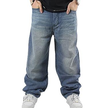 8146b070872c Generic Men s Vintage Hip Hop Street Style Unwashed Baggy Jeans 30 Dark Blue
