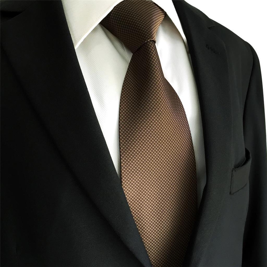 Shlax/&Wing Hombre Traje De Negocios Seda Corbatas Para Marr/ón Color S/ólido Extra largo