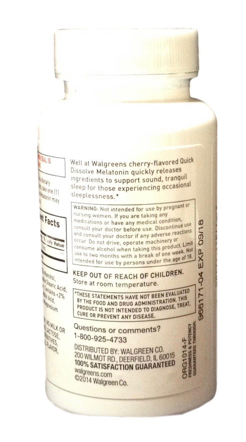 amazon com walgreens melatonin 3mg quick dissolve tablets