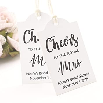 summer ray 50pcs personalized white cheers to the future mrs bridal shower thank you tags