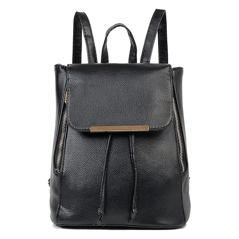 Alisa Betty Women's Leather Laptop Backpack College School Backpack Black