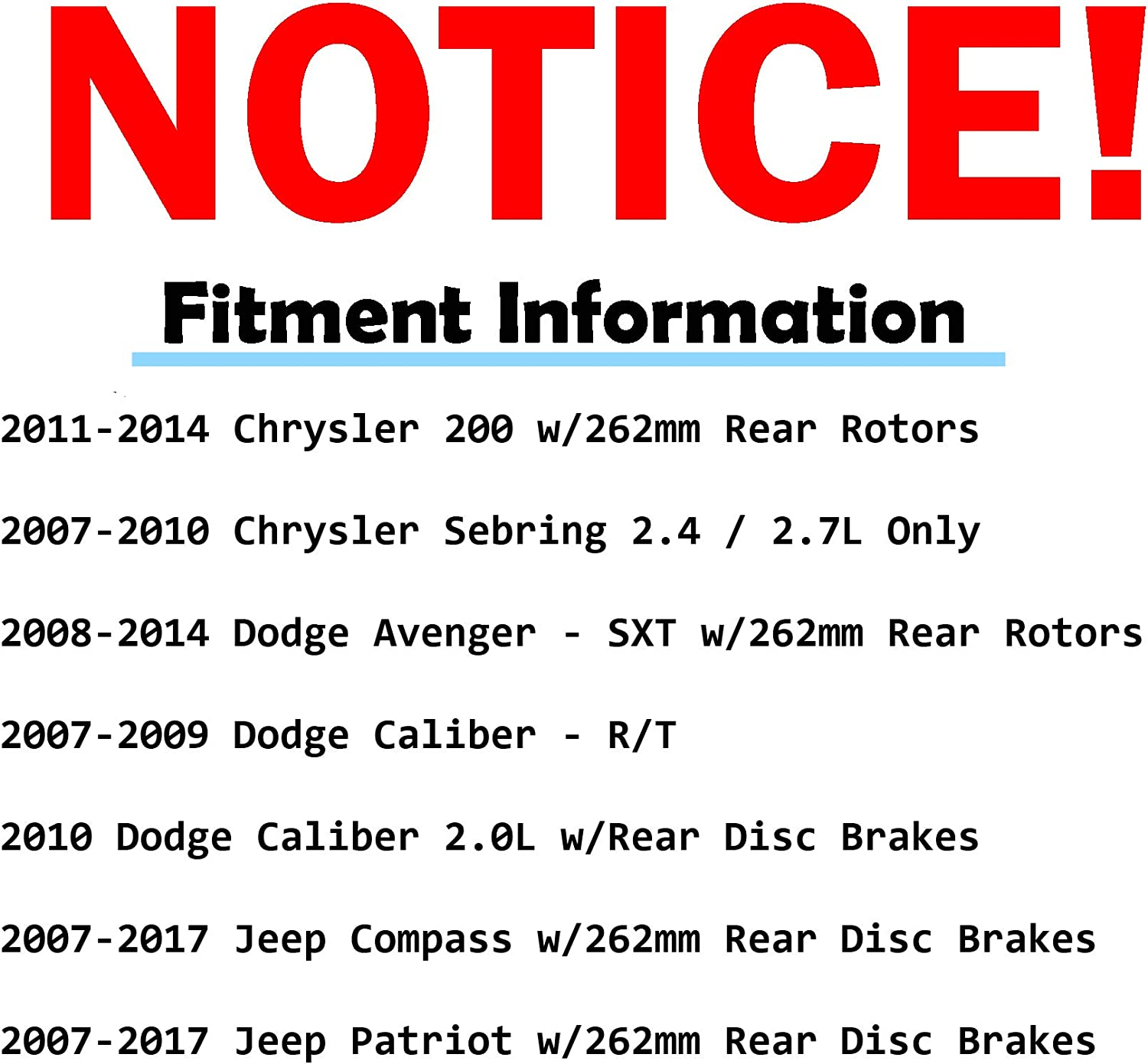 07-10 Caliber 07-10 Sebring Detroit Axle - Jeep Compass//Patriot Front 295mm and Rear 262mm Drilled and Slotted Brake Kit Rotors w//Ceramic Pads for 11-14 Chrysler 200 - - 08-14 Dodge Avenger -