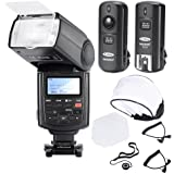 Neewer® Professionelle Speedlite Blitzgerät E-TTL * High-Speed-Synchronisation * Blitz Set für Canon EOS 650D 600D 1100D 1000D 550D 500D 450D 400D 5D, Canon Rebel T3 XS T4i T3i T2i T1i Xsi Xti, Mark III 5D Mark II 7D 60D 50D 40D 30D DSLR-Kameras, beinhaltet: Neewer Pro E-TTL NW680 Blitzgerät + Funkauslöser + 2 Kabel (C1-C3 + Kabel-Kabel) + Hart & Weich Blitz-Diffusor + Objektivdeckelhalter