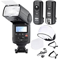 Neewer® Professional Speedlite E-TTL *High-Speed Sync* Flash Kit for CANON Rebel T4i T3i T3 XS T2i T1i Xsi Xti, EOS 650D 600D 1100D 1000D 550D 500D 450D 400D 5D Mark III 5D Mark II 7D 60D 50D 40D 30D DSLR Cameras, Includes: Neewer NW680/TT680 Pro E-TTL Auto-Focus Flash + 2.4GHz 3-IN-1 Wireless Trigger + 2 Cables(C1-Cord + C3-Cord Cables) + Hard & Soft Flash Diffuser + Lens Cap Holder
