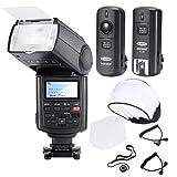 Neewer® Professionelle Speedlite Blitzgerät E-TTL * High-Speed-Synchronisation * Blitz Set für Canon EOS 650D 600D 1100D 1000D 550D 500D 450D 400D 5D, Canon Rebel T3 XS T4i T3i T2i T1i Xsi Xti, Mark III 5D Mark II 7D 60D 50D 40D 30D DSLR-Kameras, beinhaltet: Neewer Pro E-TTL NW680 Blitzgerät + Funkauslöser + 2 Kabel (C1-C3 + Kabel-Kabel) + Hart & Weich Blitz-Diffusor + Objektivdeckelhalter