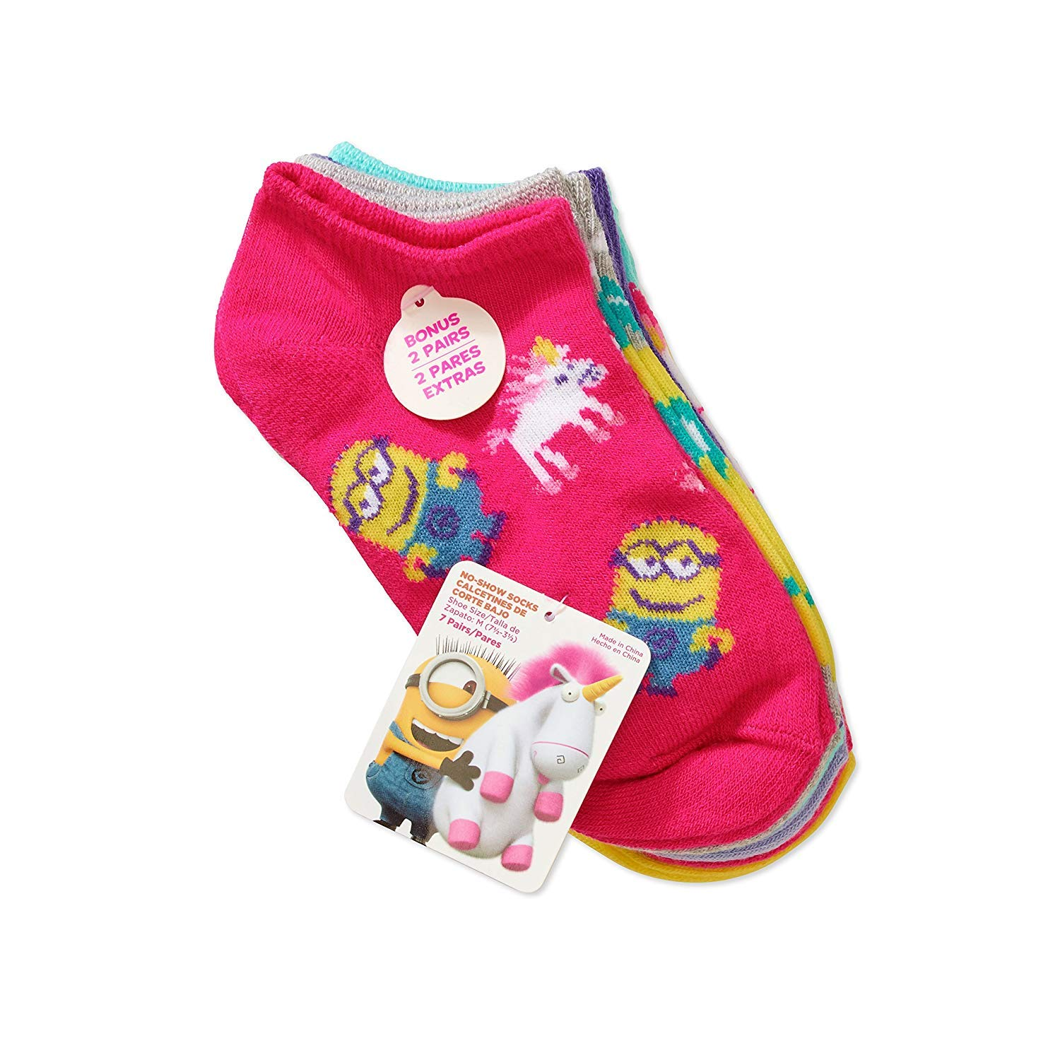 Amazon.com: Despicable Me Minions Big Girls No shows Socks 7pairs Set Pink size Large 4-10: Clothing
