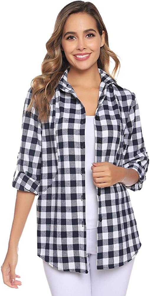 Akalnny Camisa de Franela a Cuadros para Mujer Blusa Clásica de Manga Larga Casual: Amazon.es: Ropa y accesorios