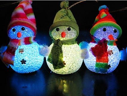 Amazon led color changing acrylic christmas light up snowmen led color changing acrylic christmas light up snowmen figurine for holiday party indoor and outdoor workwithnaturefo