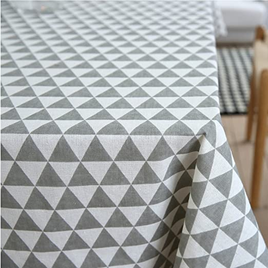 Amazon.com: ColorBird Geometric Series Triangle Pattern Cotton Linen  Tablecloth For Dining Kitchen Living Decorative Tabletop Cover  (Rectangle/Oblong, ...
