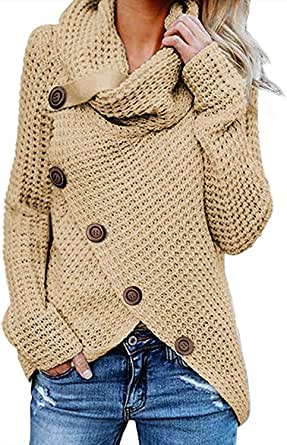 kenoce Jersey Mujer Jersey de Cuello Alto Mujer Jersey Grueso Pullover Jersey Jersey Dobladillo Asimétrico