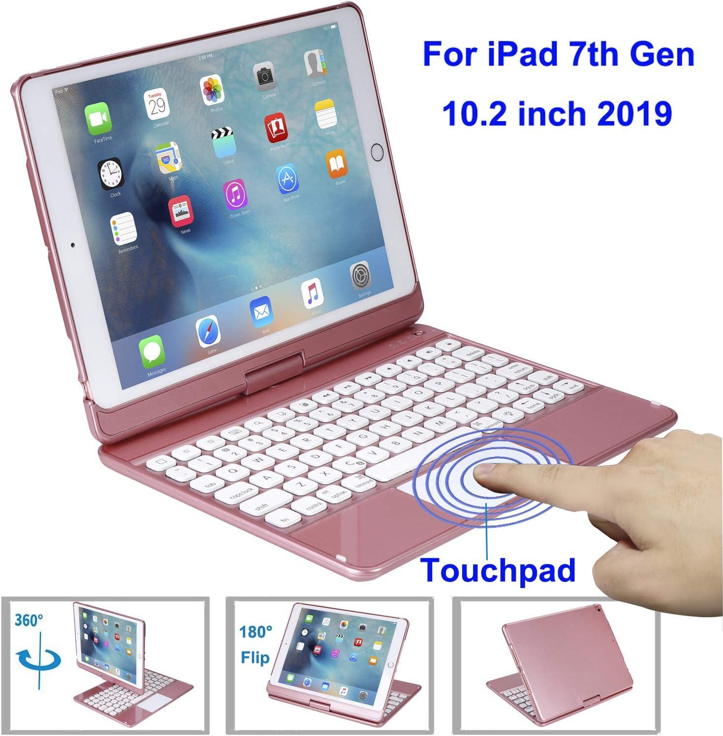360/°Rotation iPad Protective Case with Multi-Angle Rotation Rotatable Wireless Keyboard for 2020//2018 iPad Pro 12.9 Inch Pen Slot OUSMIN Wireless Keyboard Case for iPad Colorful Backlight