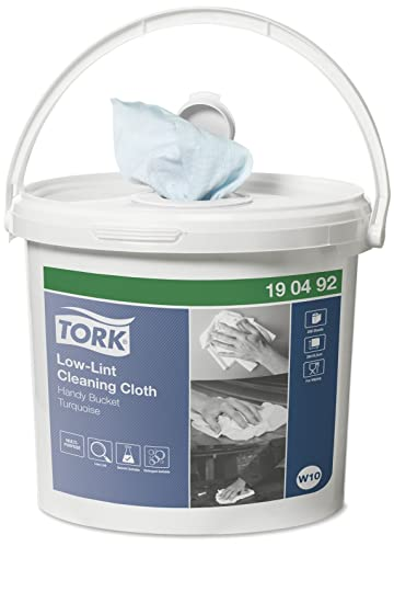 Tork 190492 Cubo práctico de paños de limpieza sin pelusa Premium / 1 capa/Paños multiusos compatibles con el sistema W10 / 4 bobinas x 60 m de largo/color ...