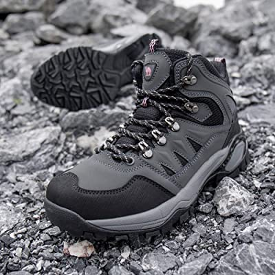 CAMEL CROWN Mens Hiking Boots Mid Ankle Boot for Trail Outdoor Backpacking Trekking Rubber Sole Black