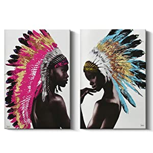 2 Piece Framed Native American Decor Wall Art Set, Beautiful Feathered African Indian Women Painting on Canvas Print Wall Decorations (24x36 inch, A and B)