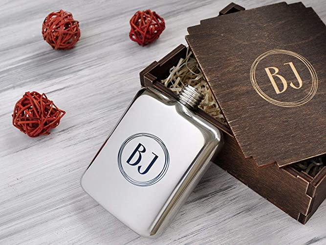 personalized monogram flask women anniversary gift idea custom engraved flask husband gift father of the groom