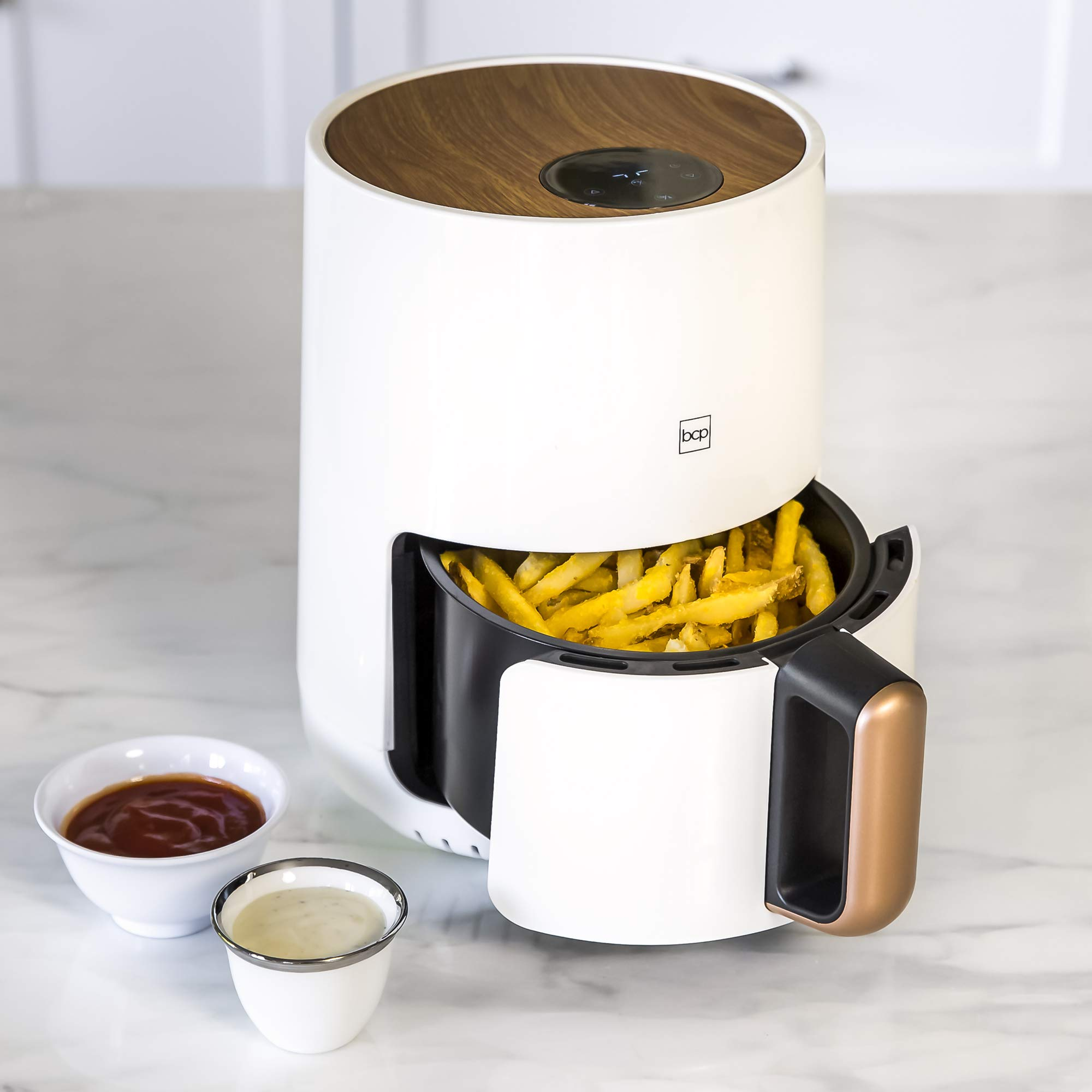 Best Choice Products 1.6qt 900W Digital Compact Air Fryer Kitchen Appliance w/Recipes, Adjustable Temp- White by Best Choice Products (Image #3)